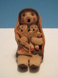 Signed L.M, Jemez Native American Pottery Storyteller Figural Mother Holding 2 Children