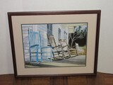 Porch Rocking Chairs Attributed to Erica Hoyt Signed in Pencil Artist Proof Fine Art Lithograph