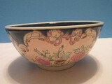 Semi-Porcelain Oriental Floral Pattern Hand Painted Footed Bowl