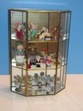 Silvestri Glass Brass Frame Display Curio Cabinet w/ Mirror Back
