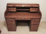 Stately Traditional Executive Roll Top Desk w/ Fitted Interior Compartments, Lock Key