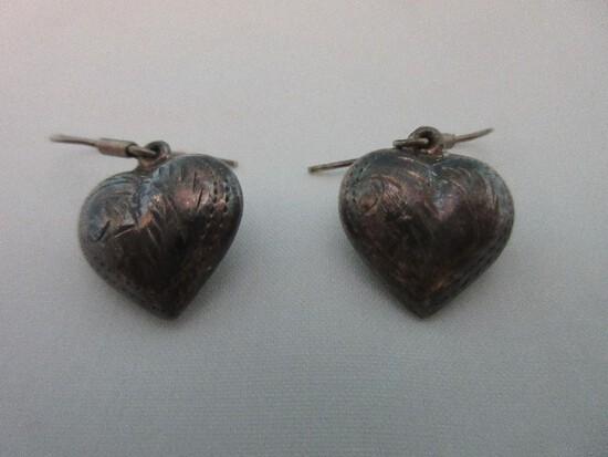 Pair 925 = Sterling Dangling Heart Pierced Earrings Engraved Design