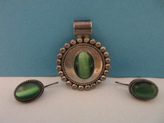 Gorgeous Mexico 925 = Sterling Fashion Jewelry Set Green Tiger Eye Pendant Enhancer