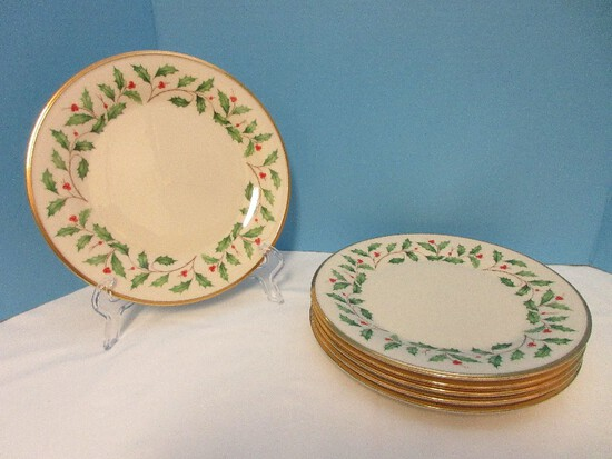 6 Lenox Fine China Holiday Pattern Dimension Collection Holly Berries Design Dinner Plates