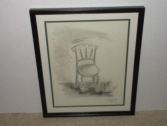 Chair w/ Paint Can Original Pencil Artwork Signed D.C.L. in Black Frame/Matt