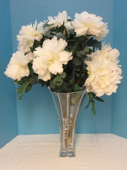 "Mikasa Lead Crystal Florale Collection 14"" Vase Petal Shape Design w/ Silk Stem Peonies"