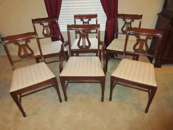 Set - 6 Mahogany Lyre Back Chairs w/ Beige Damask Upholstered Seats on Spade Feet