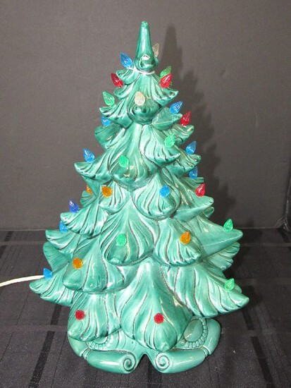 Vintage EX 1968 Green Ceramic Christmas Tree Lighted w/ Base by Atlantic Mold