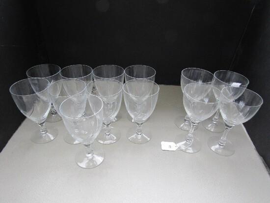 Fostoria Crystal Glass Lot - Leaf Cut Design 8 Water Goblets, 4 Wine Glasses