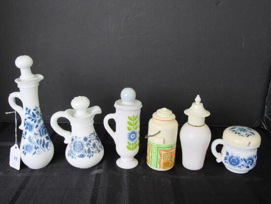 Avon Lot - Vintage Blue Floral Pattern Pitchers, Cup w/ Lid, Patchwork Cologne Mist