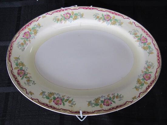 Semi-Vitreous Edwin M. Knowles Platter Floral Pattern Motif