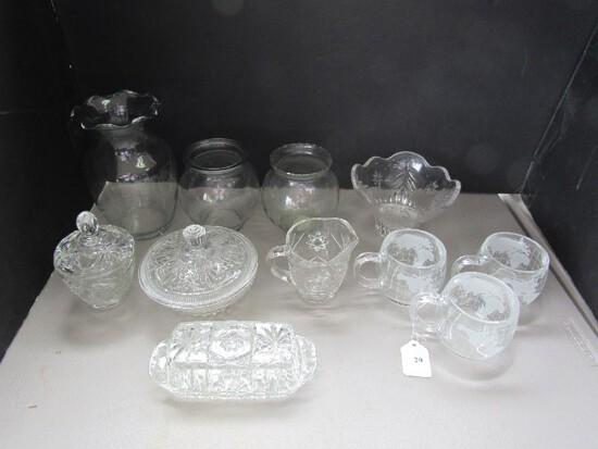 Prescut Glass Lot - Nestle Globe Cups, Vase, Pitcher/Creamer, Etc.