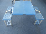 Blue Portable Fold-Out Picnic Table Metal Legs