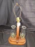 Converted 3 Light Lamp w/ Wood Frame, 2 Handles, Top Light No Shade, 2 Hurricane Lights