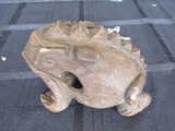 Carved Wooden Frog Pen Holder Décor