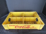 Vintage Yellow Coca-Cola Bottles 4 Cell Container