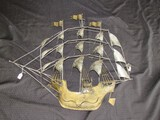 Wall Mounted Metal Silver/Gilted Ship Décor