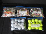 Golf Ball/Tees Lot - Taylormade TP5X, Callaway Yellow, Misc. Wood/Plastic Golf Tees