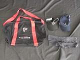 Lot - Falcons NFL Sun Visor, 2018 Falcons Sports Bag, Atlanta Falcons Cap