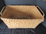 Wooden Vintage Rectangle Basket Lattice Design w/ Handles