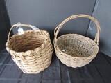 2 Vintage Wood/Wicker Baskets w/ Handles