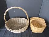 2 Vintage Wooden Baskets w/ Handles