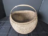 Wooden Vintage Wicker Buttress Basket w/ Handle