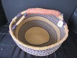 Yellow/Blue Band Wicker Basket w/ Handle