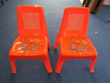 Pair - Vintage Japan Red Plastic Child Chairs w/ Cartoon Cooking Motif
