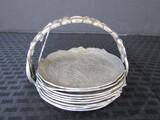 Vintage Pewter 8 Lettice Leaf Design Coasters w/ Coaster Holder