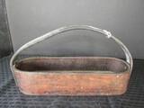 Primitive Leather/Wood Base Tool Tote Basket