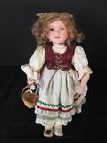 Porcelain Head/Hands/Feet Vintage Doll w/ Basket & Sand