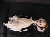 Porcelain Head/Hands/Feet Vintage Doll in White Dress, Black Coat