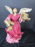 Vintage Red/Gilted Ceramic/Paper Mache Angel Tree Topper