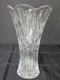 Tall Crystal Glass Diamond/Fan Cut Vase Scallop Rim Star Burst Base