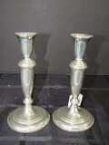 Empire Pewter Pair - Candle Sticks Spindle Design, 1 w/ Dedication on Base
