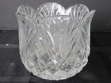Lead Glass Fan/Diamond Cut Votive Candle Holder Scallop Base
