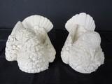 Classic Figurine Sculptor A. Santini Pair White Bird Figurines Décor