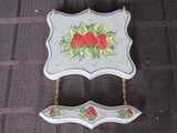 Southern Woods Hand Painted Strawberry Wall Mounted Wooden Wall Décor w/ 3 Pegs