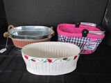 Lot - Pink Fabric Foldable Basket, Metal/Rope Basket, Painted White Wooden Basket