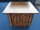 Wooden Night Stand 2 Door Spindle Columns, Slat Window Carved Décor
