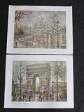 Pair - Paris Sacre Coeur Motmastre & Paris Arc De Triomphe Prints