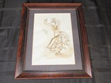 Hand Painted/Drawn Dancing Woman by Sandy Hill 2003 Bead Trim Wood Frame/Matt