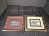 Pair - Hand Painted Indian Elephants in Ornate Beaded Gilt Wood Frame/Matt