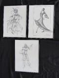 3 Arabian Dancers Picture Prints © 1995, 1997, 2002 in Black Metal Frames/Matt