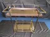 Metal Frame 2-Tier Mirrored Shelved Tray Cart Faux-Crocodile Trim on Casters