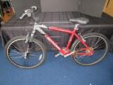 Schwinn Aluminum Comp Mountain Bike Black Handles, Red/Silver Design