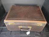 Vintage Leather File Organizer Suitcase