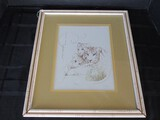 3 Tigers Picture Print in Wood Bamboo Design Frame/Matt