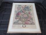 June Antique Design Bouquet Picture Print in Brass Frame/Matt